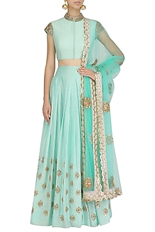 Mint Embroidered Blouse and Flared Skirt Set by Dinesh Malkani