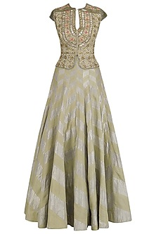 Gold Embroidered Peplum Jacket and Skirt Set