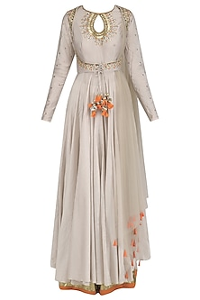 Grey Embroidered Anarkali and Palazzo Pants Set