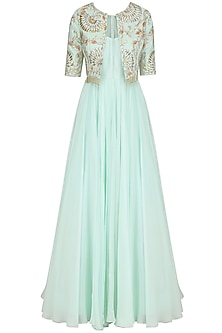 Ice Blue Anarkali and Embroidered Jacket