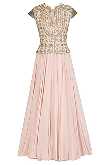 Pink Anarkali and Embroidered Peplum Jacket