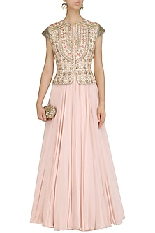 Pink Anarkali and Embroidered Peplum Jacket by Dinesh Malkani