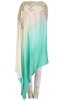 White and Blue One Shoulder Kaftan and Pants Set