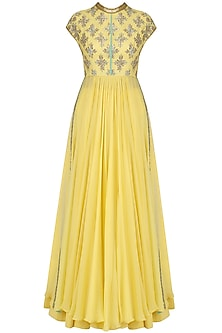 Yellow Sequins Embroidered Kalidaar Anarkali and Pants Set