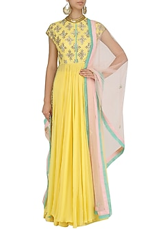 Yellow Sequins Embroidered Kalidaar Anarkali and Pants Set by Dinesh Malkani