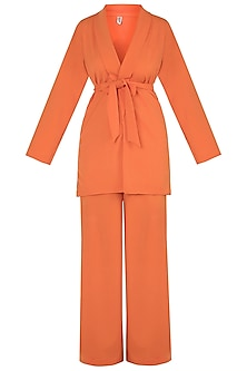 Orange Blazer Jacket With Belt & Pants