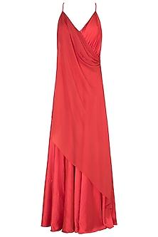 Coral Corset Drape Gown