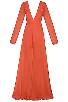 Orange Chiffon Flared Jumpsuit