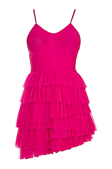 Fuschia Pink Ruffled Mini Dress