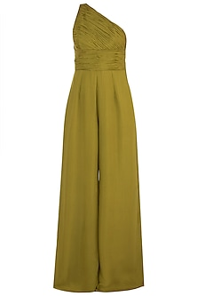 Olive Green One Shouldered Jumpsuit