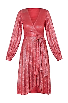 Coral Sequin Dress With Belt
