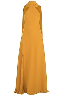 Mustard Backless Tassel Gown