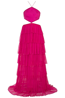 Fuschia Pink Backless Ruffled Gown