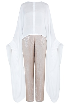 White Shirt with Sequins Pants