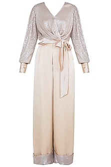 Beige Wrap Around Sequins Top With Pants