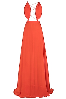 Orange Tie Up Gown