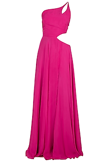 Fuschia Pink One Shouldered Gown