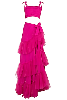 Fuschia Pink Pleated Top With Wrap Skirt