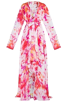 Multi Colored Tie-Dye Jacket Dress With Inner by Deme by Gabriella
