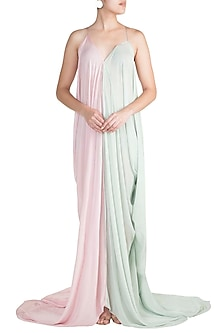 Baby Pink & Mint Green Cowl Gown by Deme by Gabriella