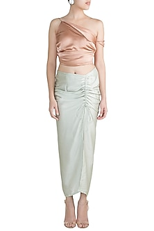 Champagne One Shoulder Crop Top With Mint Green Skirt by Deme by Gabriella