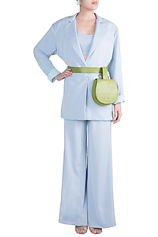 Baby Blue Oversized Suit Set With Green Leather Bag by Deme by Gabriella