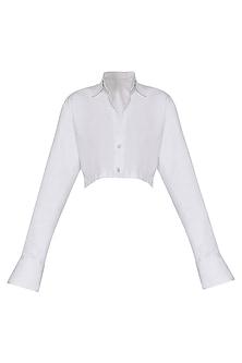 White Collar Crop Shirt by Deme by Gabriella