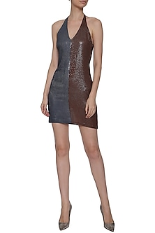 Dual Color Backless Sequins Dress by Deme by Gabriella