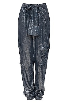 Navy Blue Sequins Jogger Pants by Deme by Gabriella