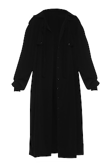 Black Gathered Sleeves Trench Coat