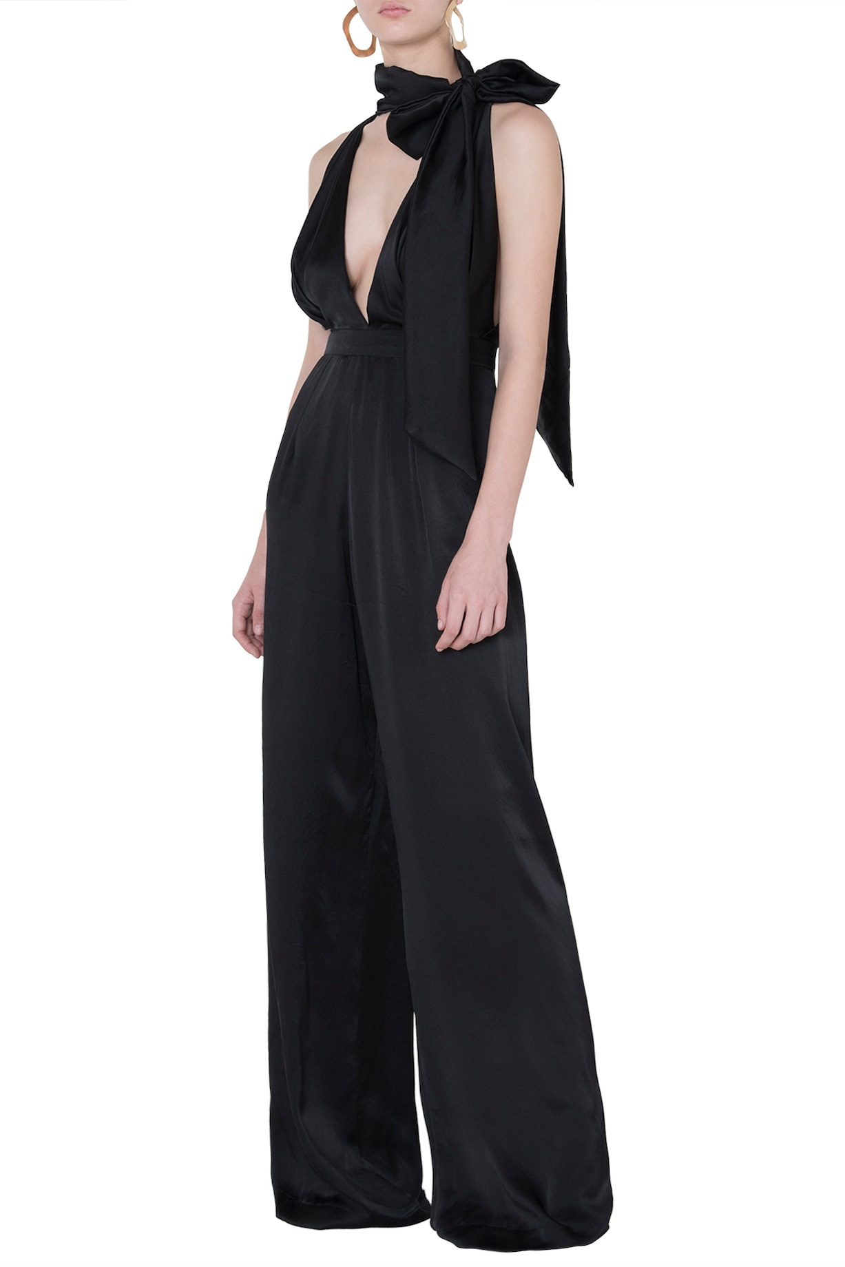 6e5b66a6988d Black satin jumpsuit available only at Pernia s Pop Up Shop.