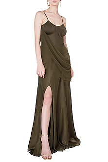 Olive slit gown by DEME BY GABRIELLA
