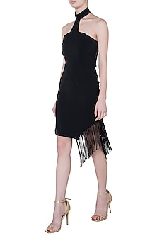Black tassel mini dress by DEME BY GABRIELLA