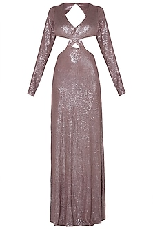 Champagne backless sequins gown by DEME BY GABRIELLA