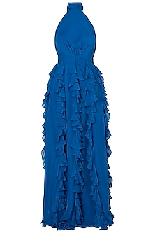 Blue ruffled gown by DEME BY GABRIELLA