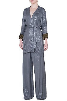 Grey sequins pants by DEME BY GABRIELLA