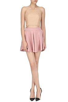 Nude Leather Crop Top by Deme by Gabriella