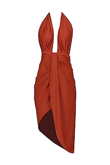 Red Plunge Neck Salmon Dress