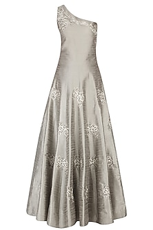 Olive Grey Rosette Motifs Embroidered One Shoulder Gown by Dimple Raghani