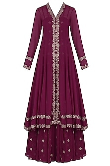 Wine Thread Embroidered Off Shoulder Gown With Floral Embroidered Jacket by Dimple Raghani