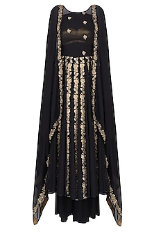 Black Cape Sleeves Floral Embroidered Kalidaar Kurta With Skirt