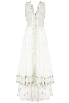 White Floral Embroidered Jacket With Bustier and Panelled Skirt