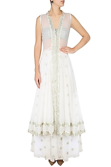 White Floral Embroidered Jacket With Bustier and Panelled Skirt by Dimple Raghani