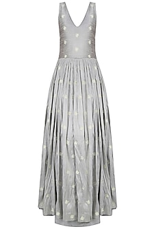Grey Rosette Motifs Embroidered Voluminous Gown