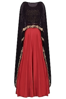 Black Floral Embroidered Cape With Crop Top and Red Skirt
