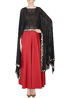 Black Floral Embroidered Cape With Crop Top and Red Skirt by Dimple Raghani
