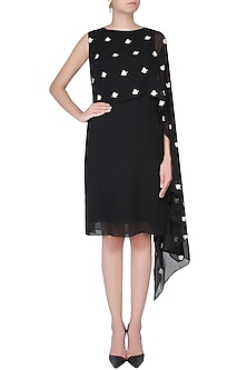 Black Floral Embroidered One Shoulder Cape Dress by Dimple Raghani