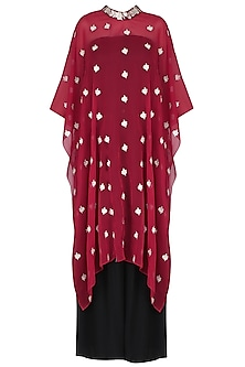 Red Floral Embroidered Cape With Black Palazzo Pants
