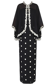 Black Floral Embroidered Jacket Style Cape With Embroidered Skirt by Dimple Raghani