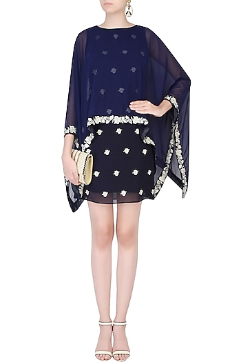 Blue Floral Embroidered Dress With Asymmetric Cape by Dimple Raghani